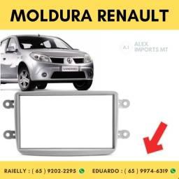 Moldura Renault Duster / sandero / logan / kwid / ca 2din Prata Dois Dim Moudura Sandeiro
