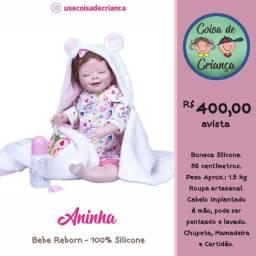 Bebê Boneca Reborn Aninha 100% silicone 56 cm com Acessórios