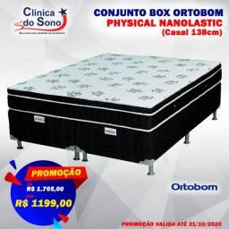 Promoção Colchão + box Ortobom Physical Nanolastic Casal 138 cm
