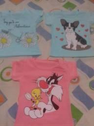 Camisetas infantil personagens malha com elastano 4,50 cada