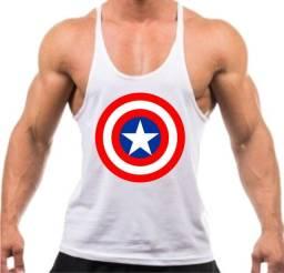 Camiseta Regata Cavada Treino Academia Capitão América - Cor Branca