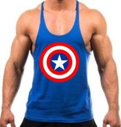 Camiseta Preta Regata Cavada Treino Academia Capitão América - Cor Azul Royal