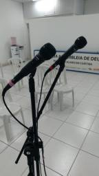 2 microfones shure com fio