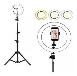 Iluminador Ring Ligth Anel de Luz 26cm + suporte de celular + tripé 2mt