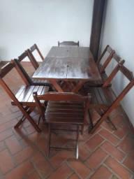 Conjunto de mesa e cadeiras maciças dobravel