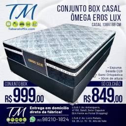 Mega Oferta! Base + Colchão Casal Eros Lux 30CM Altura Semi- Ortopédico! 10x Sem Juros