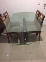 Mesa de vidro mis 4 cadeiras