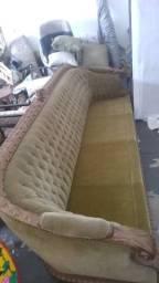Sofá Clássico Botonê Entalhado em Madeira de Lei (Antiguidade/raríssimo)