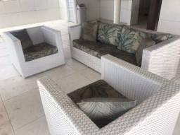 Jogo sofá junco branco área externa