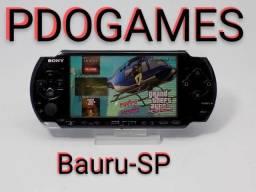 PDOGAMES Bauru, PSP slim desbloqueado com vários jogos no SD, garantia, até 12x sem juros