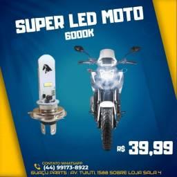 Super LED Moto Universal H4 6000k Unidade