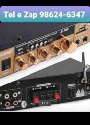 Amplificador de Áudio com Bluetooth, USB e Fm