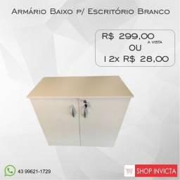 Armário Baixo p/ Escritório Branco 1 Prateleira / Novo / NFE