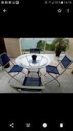4 cadeiras de alumínio dobrável