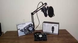 Microfone AKG C3000B + Interface de áudio m-áudio m-track 2x2 + Kit
