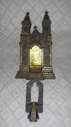 Oratório antigo Nossa Senhora Aparecida em metal, Dec 40/50