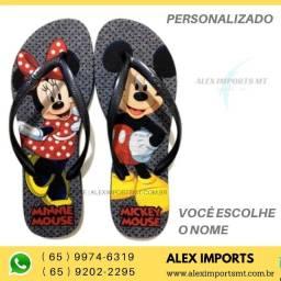 Chinelo Mickey Minnie Personalizada Slim Preta Miquei