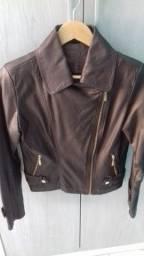 Jaqueta de couro fake marrom