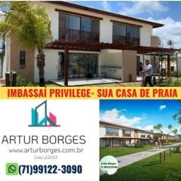 Imbassaí Privilege em Cond. fechado frente ao mar e rio- casas com 3 suítes, 238,63m²