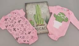 8 peças de roupa bebê menina tamanho G