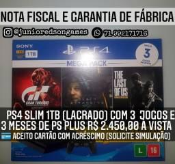 PS4 Slim 1TB (LACRADO) com 3 jogos e 3 meses de PS Pus