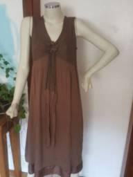 Vestido em malha marron com forro