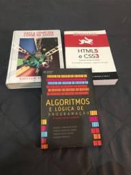 Livros de programação sobre lógica, html, css e redes