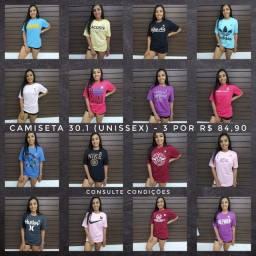 3 Camisetas por R$84,90! Diversas marcas e cores! Super Promoção *Imperdível