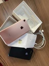 iPhone 7 Rose 128gb completo cx e NF garantia