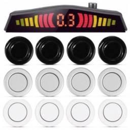 Sensor Estacionamento Ré Carro 4 Sensores Display Led Sinal Sonoro Preto Prata Branco