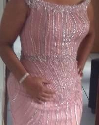 Vestido de luxo rose lindo bordado