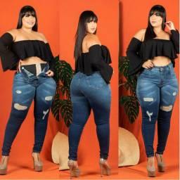 Calça Jeans Plus size com cinta modeladora sup lipo