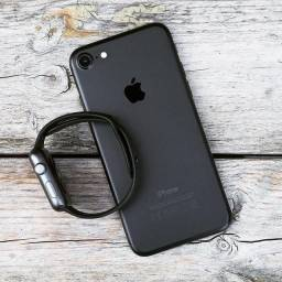 Kit Black iPhone 7 Lacrado Smartwatch Y68 Fone Bluetooth i12