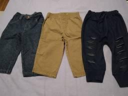 3 calças tamanho 1 por 30,00.