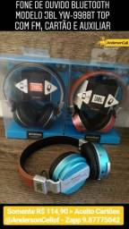 Fone de ouvido Bluetooth Modelo JBL yw-998bt acolchoado com FM, Cartão e auxiliar