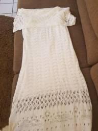 Vestido longo branco de tricô