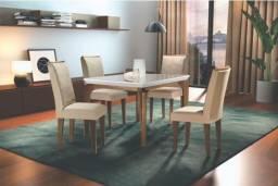 Mesa de Jantar 4 cadeiras Londrina Vidro/OffWhite