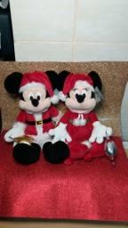 Casal Pelúcia Mickey e Minnie Mouse Natal Disney Parks
