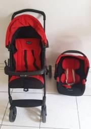 Carrinho de bebe burigotto ecco vermelho + bebe conforto