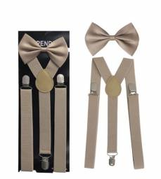 Suspensório e gravata borboleta bege