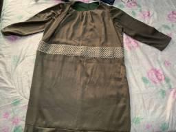 Vestido de festa plus size GG - cetim de algodão com bordado