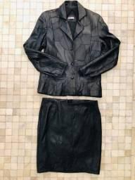 Jaqueta de couro legítimo preta
