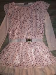 Vestido rosa de bolinha usado pouquíssimas vezes