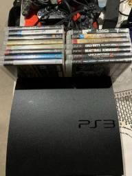 Playstation 3 Sony Original PS3 com Jogos Originais Completo com Controles Preto bluetooth