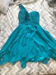Vestido Azul Ombro Unico