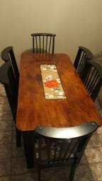 Mesa de jantar de madeira MDF 6 cadeiras