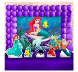 Kit decoração festa sereia Ariel com Bolo cenográfico