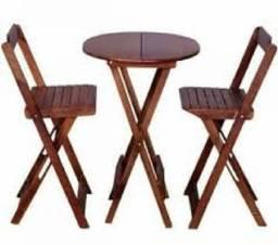 Mesa Bistro com duas Cadeiras Dobrável