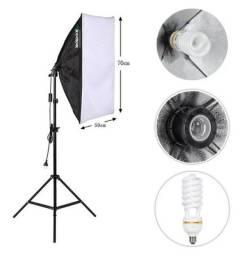 Kit Studio - Tripé Iluminação + Softbox 50x70 + Lâmpada 150W
