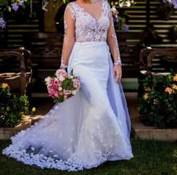 Vestido de noiva semi-sereia 2 em 1